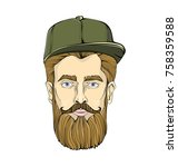 nice looking man with a beard... | Shutterstock .eps vector #758359588