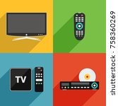 tv and television equipment... | Shutterstock .eps vector #758360269