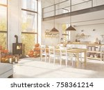cosy nordic kitchen in an... | Shutterstock . vector #758361214