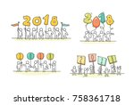 2018 happy new year set.... | Shutterstock .eps vector #758361718