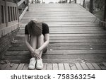 sad woman  lonely  sitting... | Shutterstock . vector #758363254