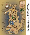 pirate map of treasure island... | Shutterstock .eps vector #758363734