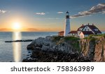 portland head light at sunrise... | Shutterstock . vector #758363989
