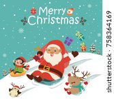 Vintage Christmas poster design with vector snowman, Santa Claus, elf, penguin characters.
