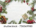 christmas gift  knitted blanket ... | Shutterstock . vector #758369980