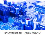 Small photo of Circuitboard with resistors, microchips and electronic components. Electronic computer hardware technology. Integrated communication processor. Information engineering component. Semiconductor. PCB.
