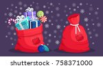 santa claus red bag with patch  ... | Shutterstock .eps vector #758371000