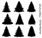 christmas trees silhouettes... | Shutterstock .eps vector #758373739