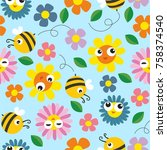 children's print with bees and... | Shutterstock .eps vector #758374540