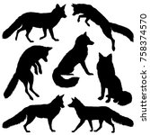 fox silhouette. set. vector... | Shutterstock .eps vector #758374570