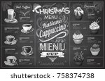 vintage chalk drawing christmas ... | Shutterstock .eps vector #758374738