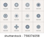 linear ornamental logo... | Shutterstock .eps vector #758376058