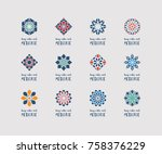 yoga ornamental emblems set.... | Shutterstock .eps vector #758376229