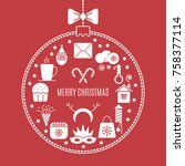 vector christmas icons.... | Shutterstock .eps vector #758377114