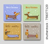 christmas greeting cards with... | Shutterstock .eps vector #758377120