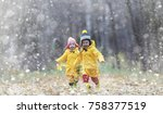 toddlers walk in the autumn...   Shutterstock . vector #758377519