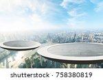 the circular platform suspended ...   Shutterstock . vector #758380819
