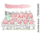 soccer team pose for a photo... | Shutterstock .eps vector #758381800