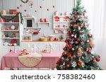interior light grey kitchen and ...   Shutterstock . vector #758382460