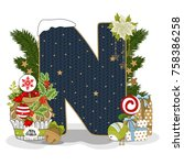 christmas letter n. new year... | Shutterstock .eps vector #758386258