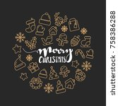christmas icons. christmas... | Shutterstock .eps vector #758386288