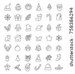 christmas icons set | Shutterstock .eps vector #758386294