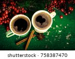 cups of fragrant coffee on a... | Shutterstock . vector #758387470