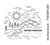 template banner with mountains... | Shutterstock .eps vector #758389180