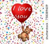teddy bear.valentines merry... | Shutterstock .eps vector #758389609