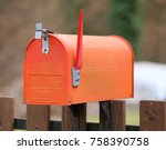 red american style letterbox... | Shutterstock . vector #758390758