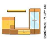 vector  furniture  cabinets ... | Shutterstock .eps vector #758394133