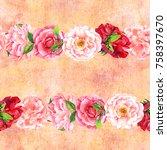 a seamless border of watercolor ...   Shutterstock . vector #758397670