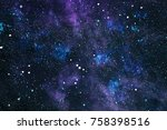 colorful starry night sky outer ... | Shutterstock . vector #758398516