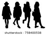 girl wearing winter clothes... | Shutterstock .eps vector #758400538