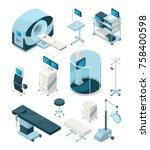 different hospital equipment.... | Shutterstock .eps vector #758400598