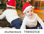 children close to the christmas ... | Shutterstock . vector #758402518