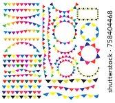 party or festival flag ribbon... | Shutterstock .eps vector #758404468