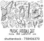 set of music illustration hand...   Shutterstock .eps vector #758406370