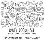 set of party illustration hand... | Shutterstock .eps vector #758406394