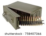 Small photo of US Army Ammo Box with ammunition belt and bayonet isolated on white background