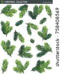 winter set of green fir and... | Shutterstock .eps vector #758408569