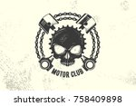 vintage motor club sign and... | Shutterstock .eps vector #758409898