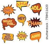 set of nine cartoon comic... | Shutterstock .eps vector #758411620