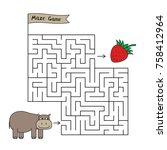 cartoon hippo maze game. funny... | Shutterstock .eps vector #758412964