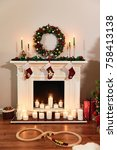 Christmas Fireplace With Santa...