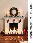 Christmas Fireplace With Santa...