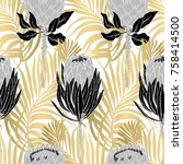 seamless tropical pattern... | Shutterstock .eps vector #758414500