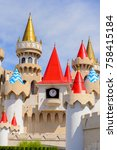 Small photo of LAS VEGAS, USA - SEP 21, 2017: Towers of the Excalibur Hotel and Casino, Las Vegas Strip in Paradise, Nevada, United States