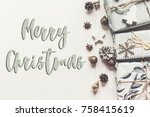 merry christmas text  seasonal... | Shutterstock . vector #758415619