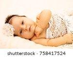 cute little newborn baby | Shutterstock . vector #758417524